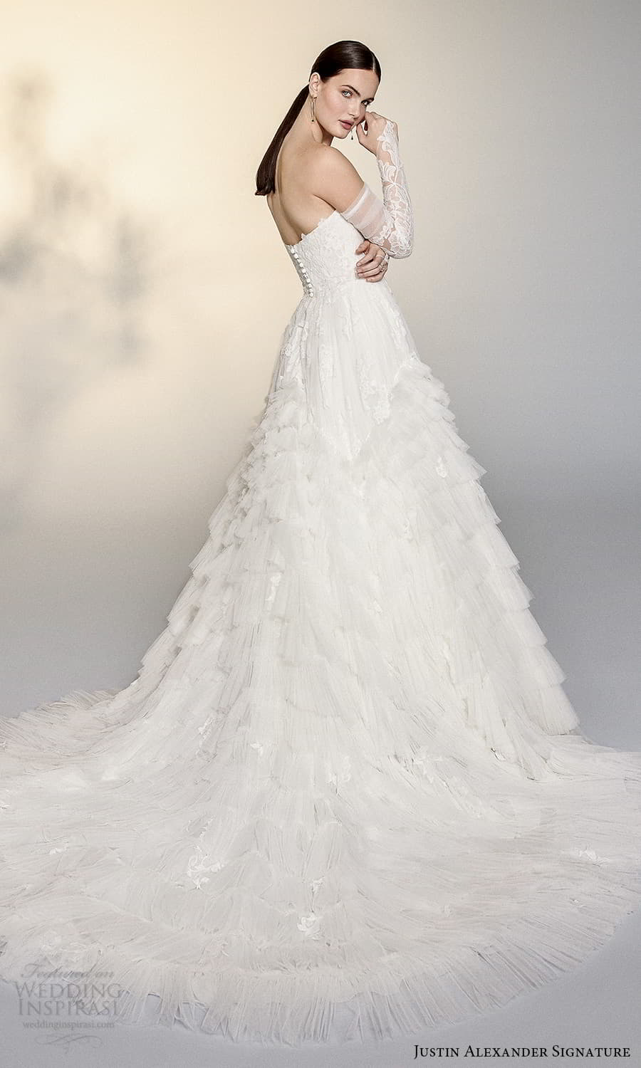 justin alexander signature spring 2022 bridal detached long sleeves strapless sweetheart neckline fully embellished lace a line ball gown wedding dress chapel train (9) bv