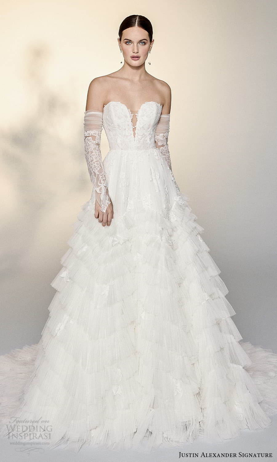 justin alexander signature spring 2022 bridal detached long sleeves strapless sweetheart neckline fully embellished lace a line ball gown wedding dress chapel train (9) mv