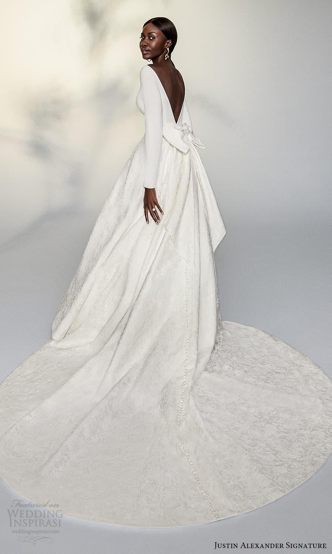 justin alexander signature spring 2022 bridal long sleeve bateau neckline textured a line ball gown wedding dress chapel train (6) bv