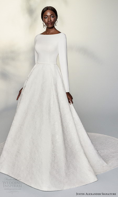justin alexander signature spring 2022 bridal long sleeve bateau neckline textured a line ball gown wedding dress chapel train (6) mv