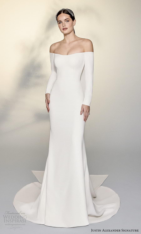 justin alexander signature spring 2022 bridal long sleeve off shoulder straight across neckline clean minimalist sheath wedding dress chapel train (7) mv