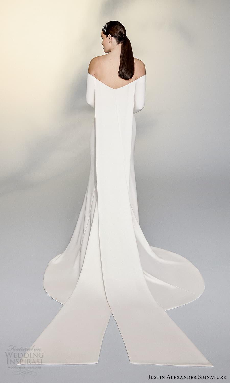 justin alexander signature spring 2022 bridal long sleeve off shoulder straight across neckline clean minimalist sheath wedding dress watteau train (7) bv