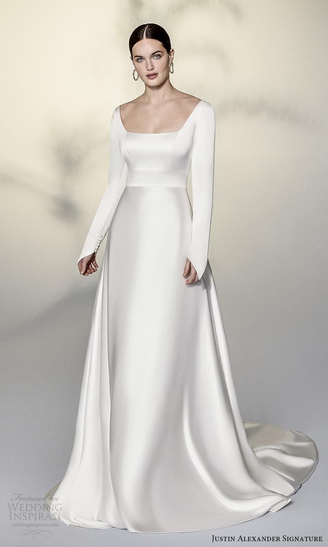 justin alexander signature spring 2022 bridal long sleeve square neckline clean minimalist modern a line wedding dress chapel train (17) mv