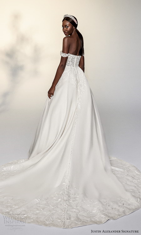 justin alexander signature spring 2022 bridal off shoulder straps sweetheart neckline embellished bodice a line ball gown wedding dress chapel train (2) bv