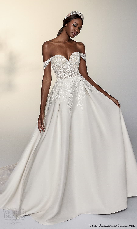 justin alexander signature spring 2022 bridal off shoulder straps sweetheart neckline embellished bodice a line ball gown wedding dress chapel train (2) mv
