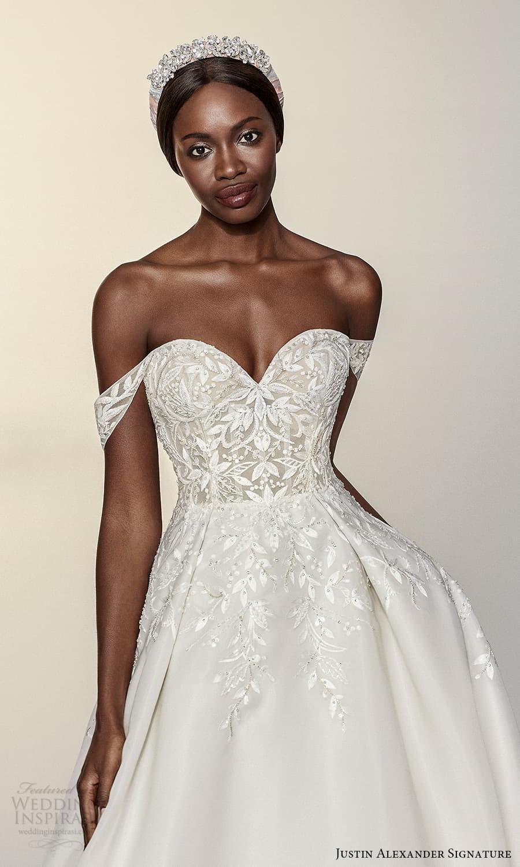 justin alexander signature spring 2022 bridal off shoulder straps sweetheart neckline embellished bodice a line ball gown wedding dress chapel train (2) zv