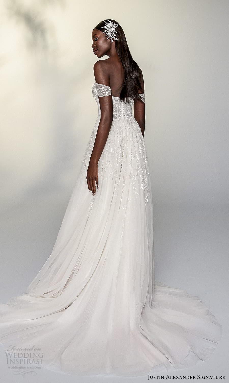 justin alexander signature spring 2022 bridal off shoulder straps sweetheart neckline fully embellished lace a line ball gown wedding dress chapel train (15) bv
