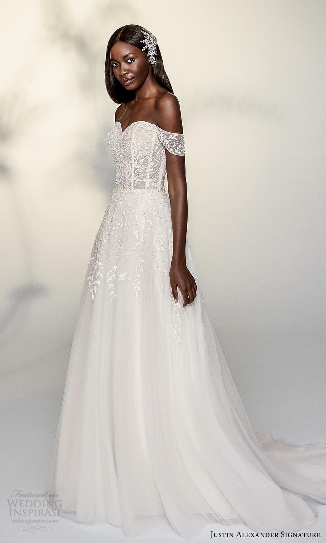 justin alexander signature spring 2022 bridal off shoulder straps sweetheart neckline fully embellished lace a line ball gown wedding dress chapel train (15) mv