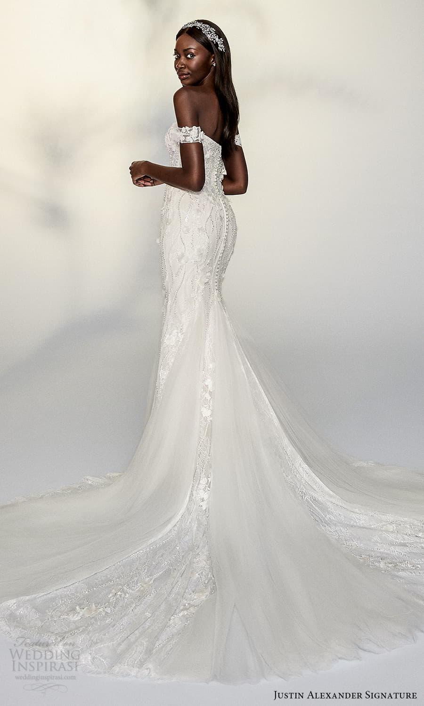 justin alexander signature spring 2022 bridal off shoulder straps sweetheart neckline fully embellished sheath fit flare wedding dress chapel train (4) bv