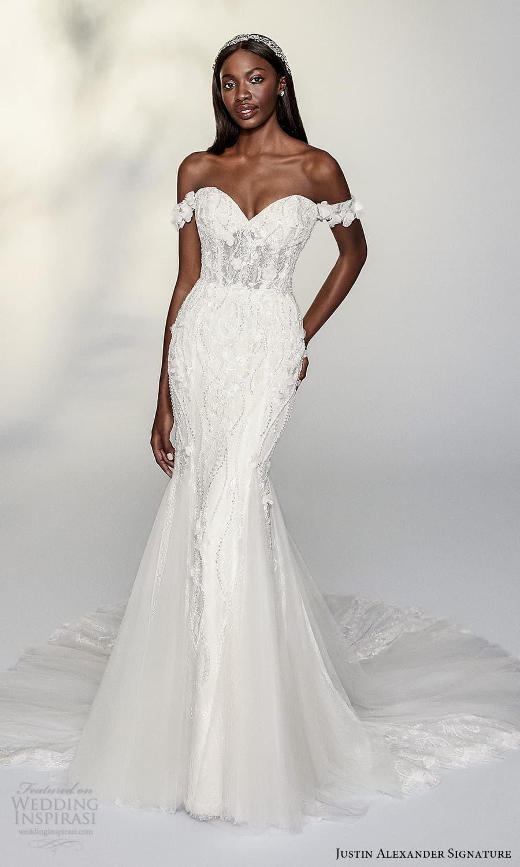 justin alexander signature spring 2022 bridal off shoulder straps sweetheart neckline fully embellished sheath fit flare wedding dress chapel train (4) mv