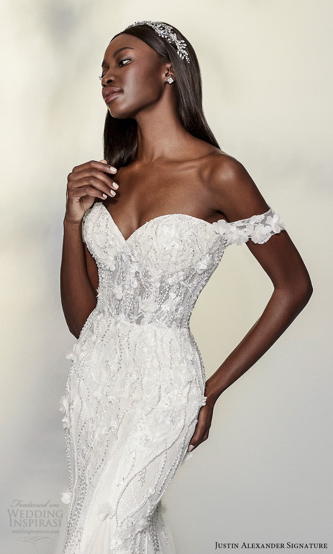 justin alexander signature spring 2022 bridal off shoulder straps sweetheart neckline fully embellished sheath fit flare wedding dress chapel train (4) zv