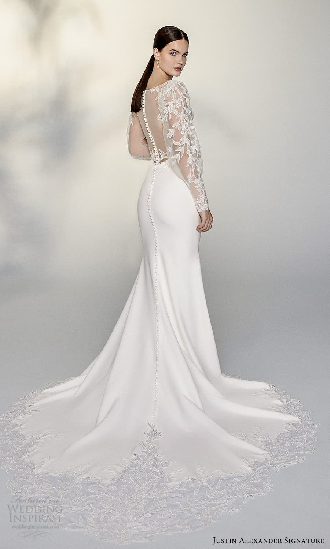justin alexander signature spring 2022 bridal sheer billowy sleeve plunging v neckline embellished lace bodice clean skirt sheath wedding dress chapel train (13) bv