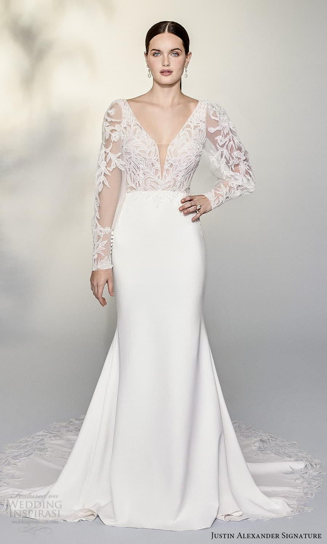 justin alexander signature spring 2022 bridal sheer billowy sleeve plunging v neckline embellished lace bodice clean skirt sheath wedding dress chapel train (13) mv
