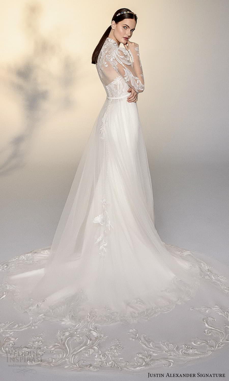 justin alexander signature spring 2022 bridal sheer puff sleeve high neckline embellished lace a line wedding dress chapel train (1) bv