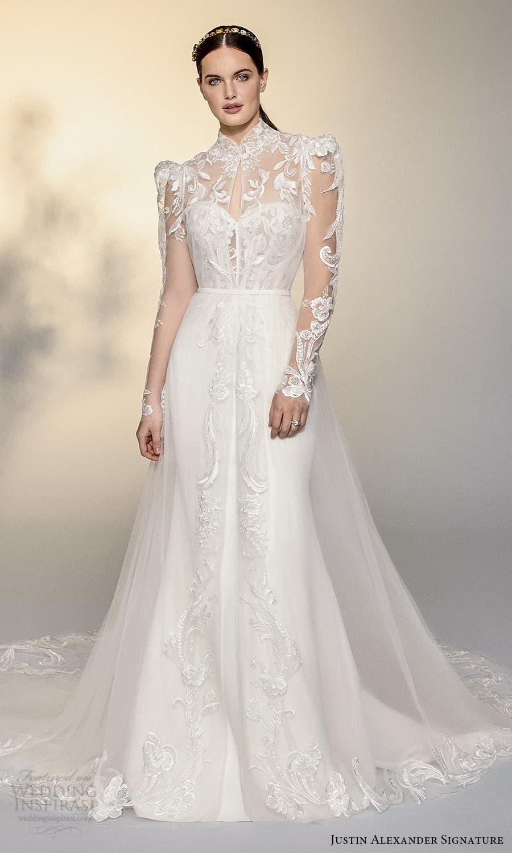 justin alexander signature spring 2022 bridal sheer puff sleeve high neckline embellished lace a line wedding dress chapel train (1) mv