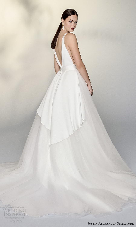 justin alexander signature spring 2022 bridal sleeveless straps plunging v neckline clean minimalist a line ball gownwedding dress chapel train (11) bv