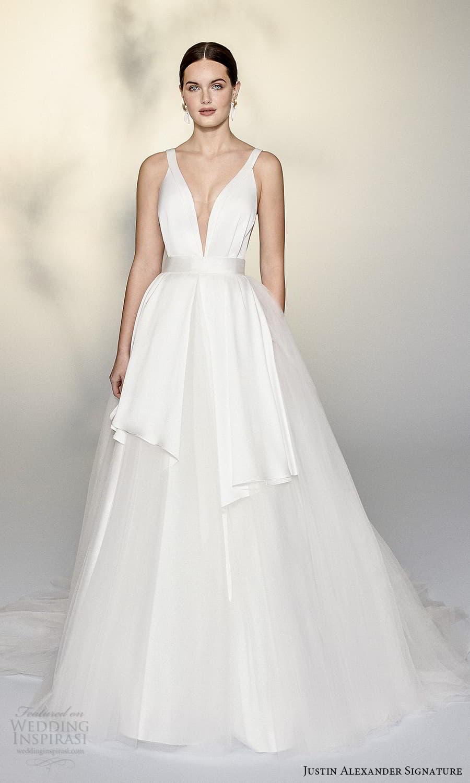 justin alexander signature spring 2022 bridal sleeveless straps plunging v neckline clean minimalist a line ball gownwedding dress chapel train (11) mv