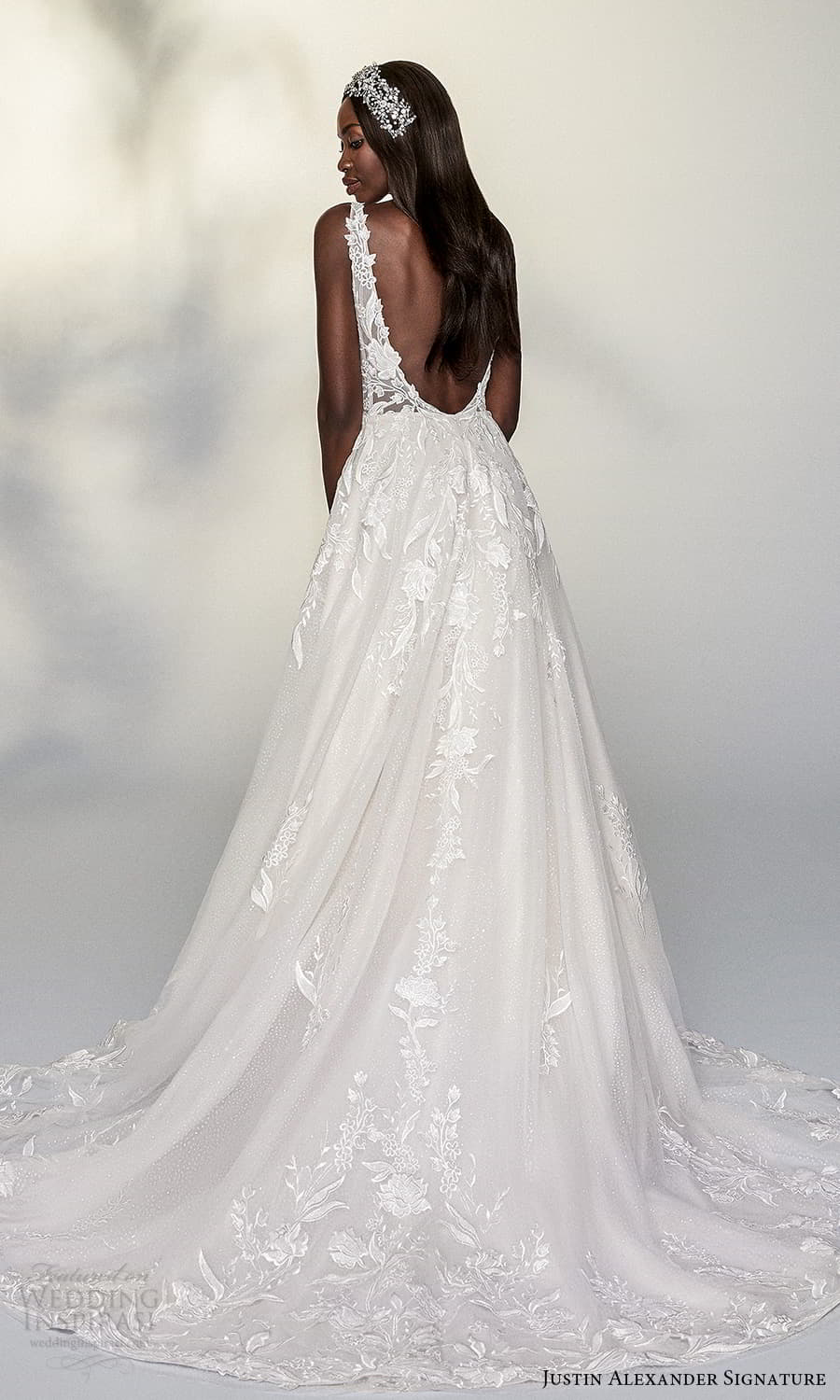 justin alexander signature spring 2022 bridal sleeveless straps plunging v sweetheart neckline fully embellished lace a line ball gown wedding dress chapel train (10) bv