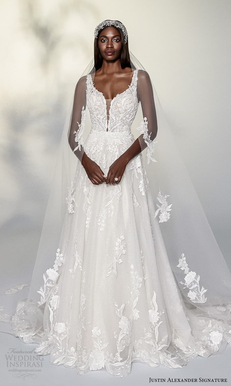 justin alexander signature spring 2022 bridal sleeveless straps plunging v sweetheart neckline fully embellished lace a line ball gown wedding dress chapel train (10) mv