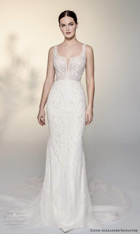 justin alexander signature spring 2022 bridal sleeveless straps split square neckline fully embellished sheath wedding dress chapel train (14) mv
