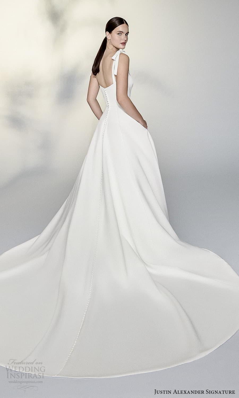 justin alexander signature spring 2022 bridal sleeveless straps sweetheart neckline clean minimalist a line ball gown wedding dress chapel train (3) bv