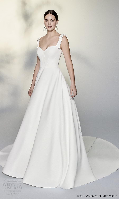 justin alexander signature spring 2022 bridal sleeveless straps sweetheart neckline clean minimalist a line ball gown wedding dress chapel train (3) mv
