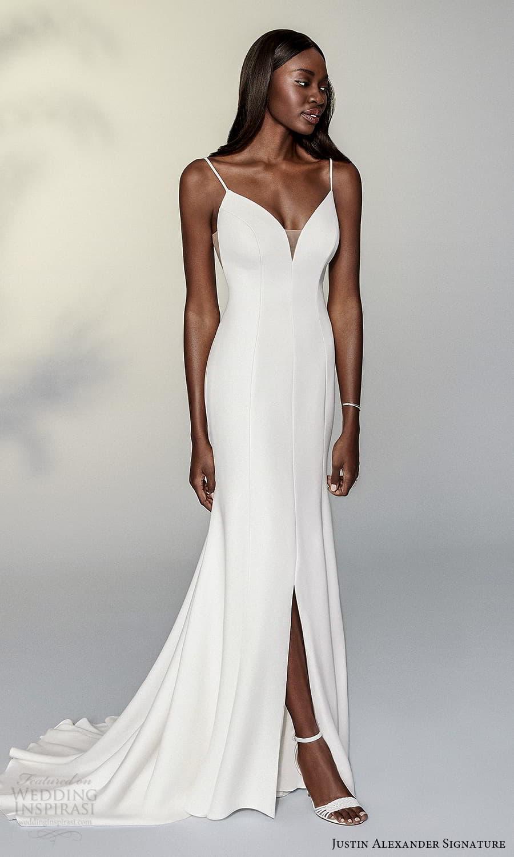 justin alexander signature spring 2022 bridal sleeveless straps sweetheart neckline clean minimalist sheath wedding dress slit skirt (12) mv
