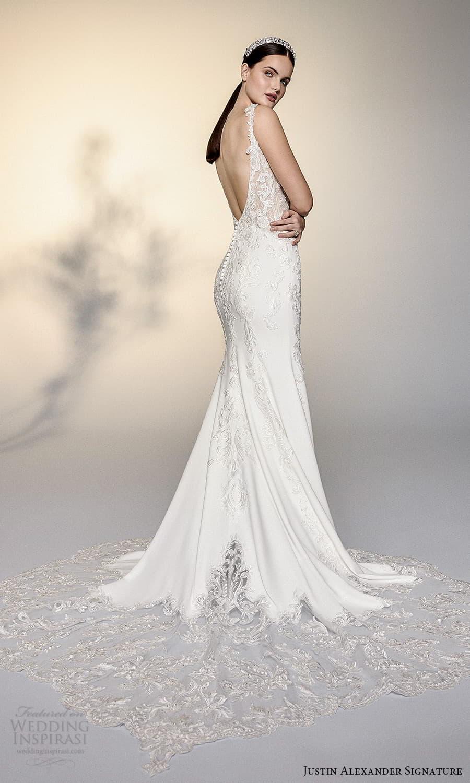 justin alexander signature spring 2022 bridal sleeveless straps sweetheart neckline fully embellished sheath wedding dress chapel train (16) bv