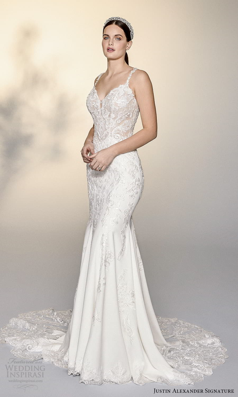 justin alexander signature spring 2022 bridal sleeveless straps sweetheart neckline fully embellished sheath wedding dress chapel train (16) mv