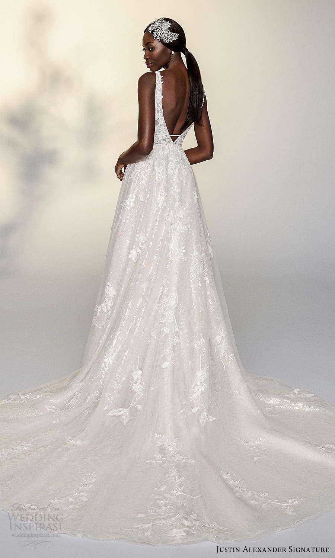 justin alexander signature spring 2022 bridal sleeveless straps v neckline fully embellished a line ball gown wedding dress chapel train (8) bv