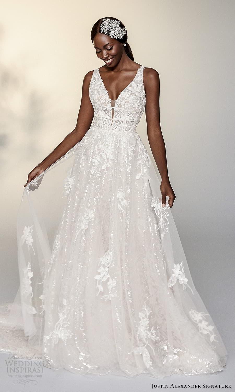 justin alexander signature spring 2022 bridal sleeveless straps v neckline fully embellished a line ball gown wedding dress chapel train (8) mv