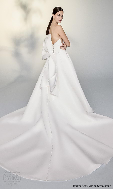 justin alexander signature spring 2022 bridal strapless plunging split sweetheart neckline clean minimalist a line ball gown wedding dress chapel train (5) bv