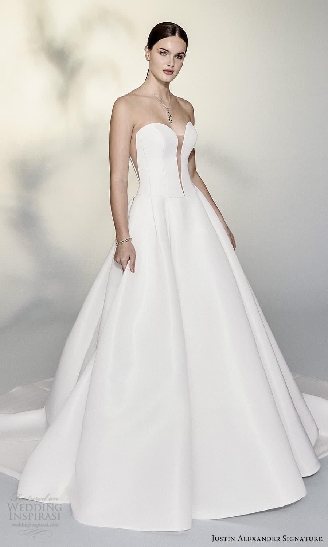 justin alexander signature spring 2022 bridal strapless plunging split sweetheart neckline clean minimalist a line ball gown wedding dress chapel train (5) mv