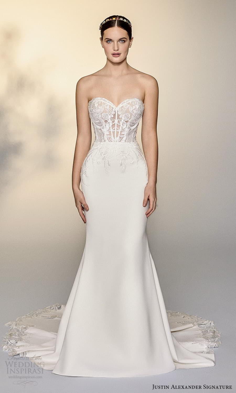 justin alexander signature spring 2022 bridal strapless sweetheart neckline embellished lace a line wedding dress chapel train (1) mv