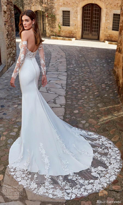 kelly faetanini spring 2022 campaign bridal off shoulder long sleeve scoop neckline embellished bodice clean skirt sheath wedding dress chapel train (12) bv