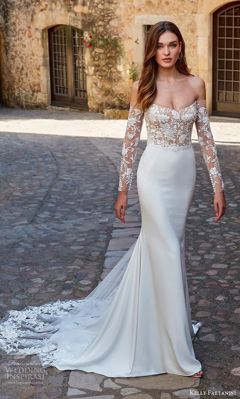 kelly faetanini spring 2022 campaign bridal off shoulder long sleeve scoop neckline embellished bodice clean skirt sheath wedding dress chapel train (12) mv