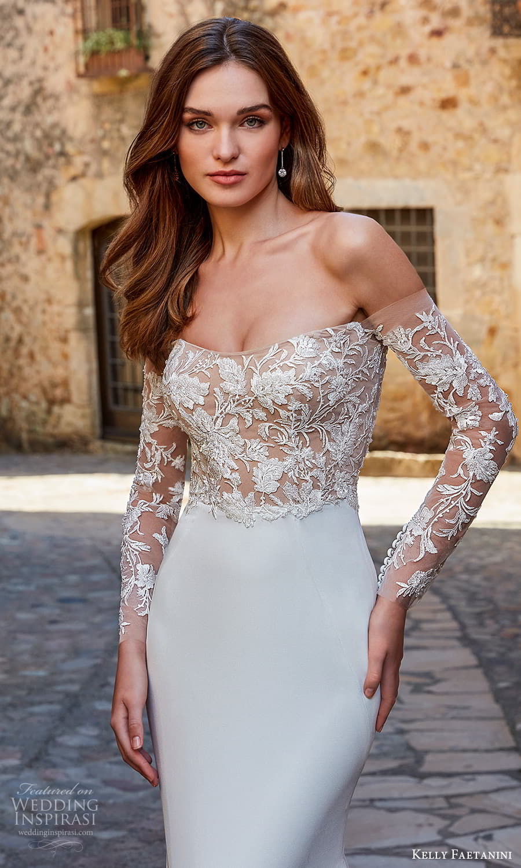 kelly faetanini spring 2022 campaign bridal off shoulder long sleeve scoop neckline embellished bodice clean skirt sheath wedding dress chapel train (12) zv