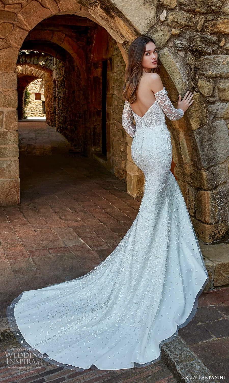 kelly faetanini spring 2022 campaign bridal off shoulder long sleeve semi scoop neckline fully embellished sheath wedding dress chapel train (15) bv