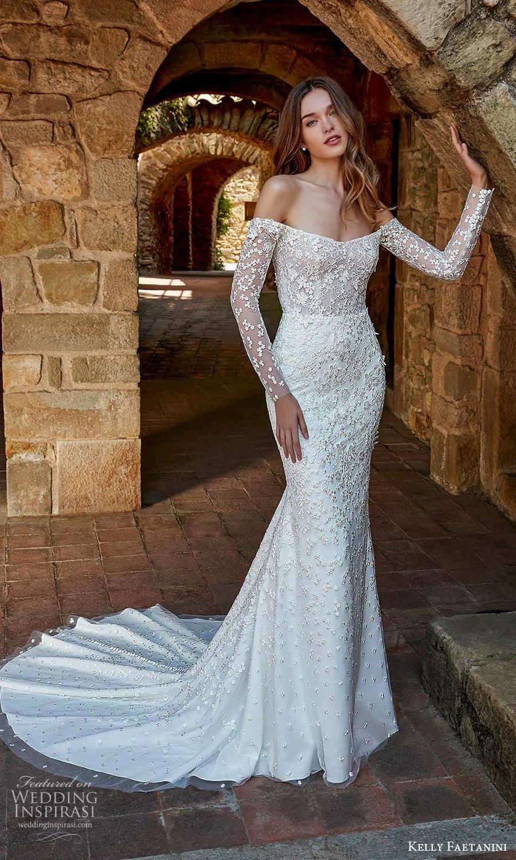 kelly faetanini spring 2022 campaign bridal off shoulder long sleeve semi scoop neckline fully embellished sheath wedding dress chapel train (15) mv