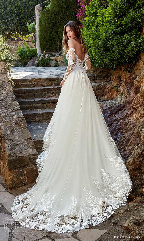 kelly faetanini spring 2022 campaign bridal off shoulder long sleeve semi sweetheart neckline embellished lace bodice clean skirt a line wedding dress chapel train (16) bv