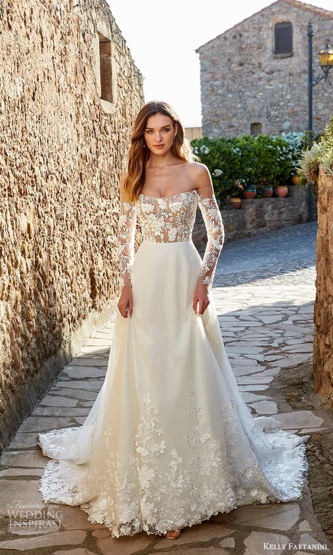 kelly faetanini spring 2022 campaign bridal off shoulder long sleeve semi sweetheart neckline embellished lace bodice clean skirt a line wedding dress chapel train (16) mv