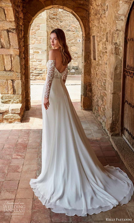 kelly faetanini spring 2022 campaign bridal off shoulder long sleeve straight across neckline embellished bodice clean skirt a line wedding dress chapel train (1) bv