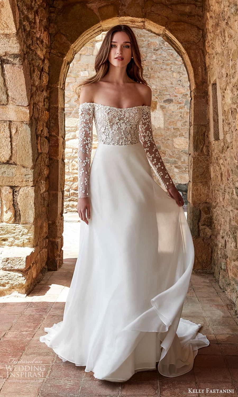 kelly faetanini spring 2022 campaign bridal off shoulder long sleeve straight across neckline embellished bodice clean skirt a line wedding dress chapel train (1) mv