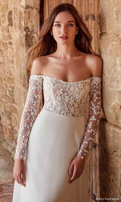 kelly faetanini spring 2022 campaign bridal off shoulder long sleeve straight across neckline embellished bodice clean skirt a line wedding dress chapel train (1) zv