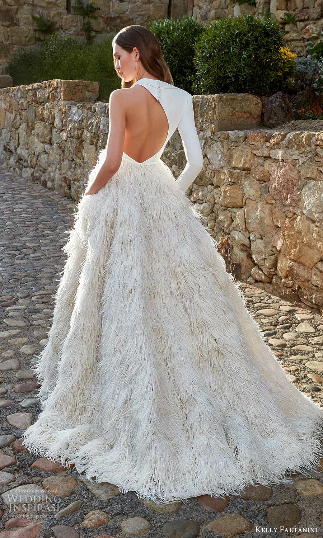 kelly faetanini spring 2022 campaign bridal one sleeve sleveless asymmetric neckline clean bodice feather skirt a line ball gown wedding dress chapel train (13) bv