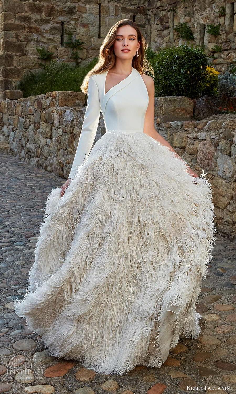 kelly faetanini spring 2022 campaign bridal one sleeve sleveless asymmetric neckline clean bodice feather skirt a line ball gown wedding dress chapel train (13) mv