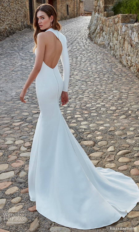 kelly faetanini spring 2022 campaign bridal one sleeve sleveless asymmetric neckline clean minimalist sheath wedding dress chapel train (3) bv