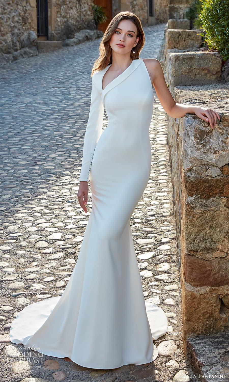 kelly faetanini spring 2022 campaign bridal one sleeve sleveless asymmetric neckline clean minimalist sheath wedding dress chapel train (3) mv