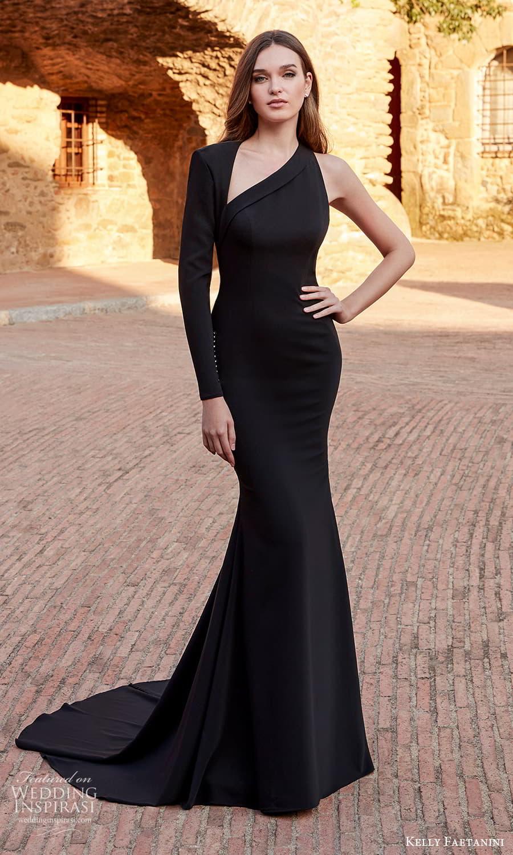 kelly faetanini spring 2022 campaign bridal one sleeve sleveless asymmetric neckline clean minimalist sheath wedding dress chapel train black (3) mv