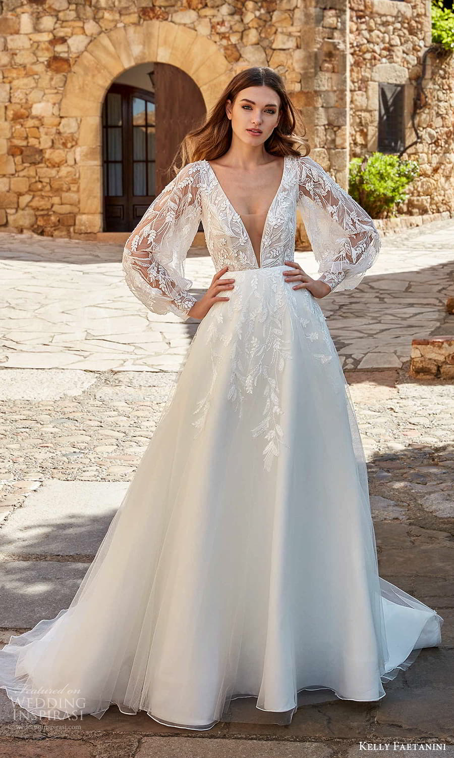 kelly faetanini spring 2022 campaign bridal sheer balloon bishop sleeve plunging v necklnie fully embellished lace a line ball gown wedding dress chapel train (11) mv